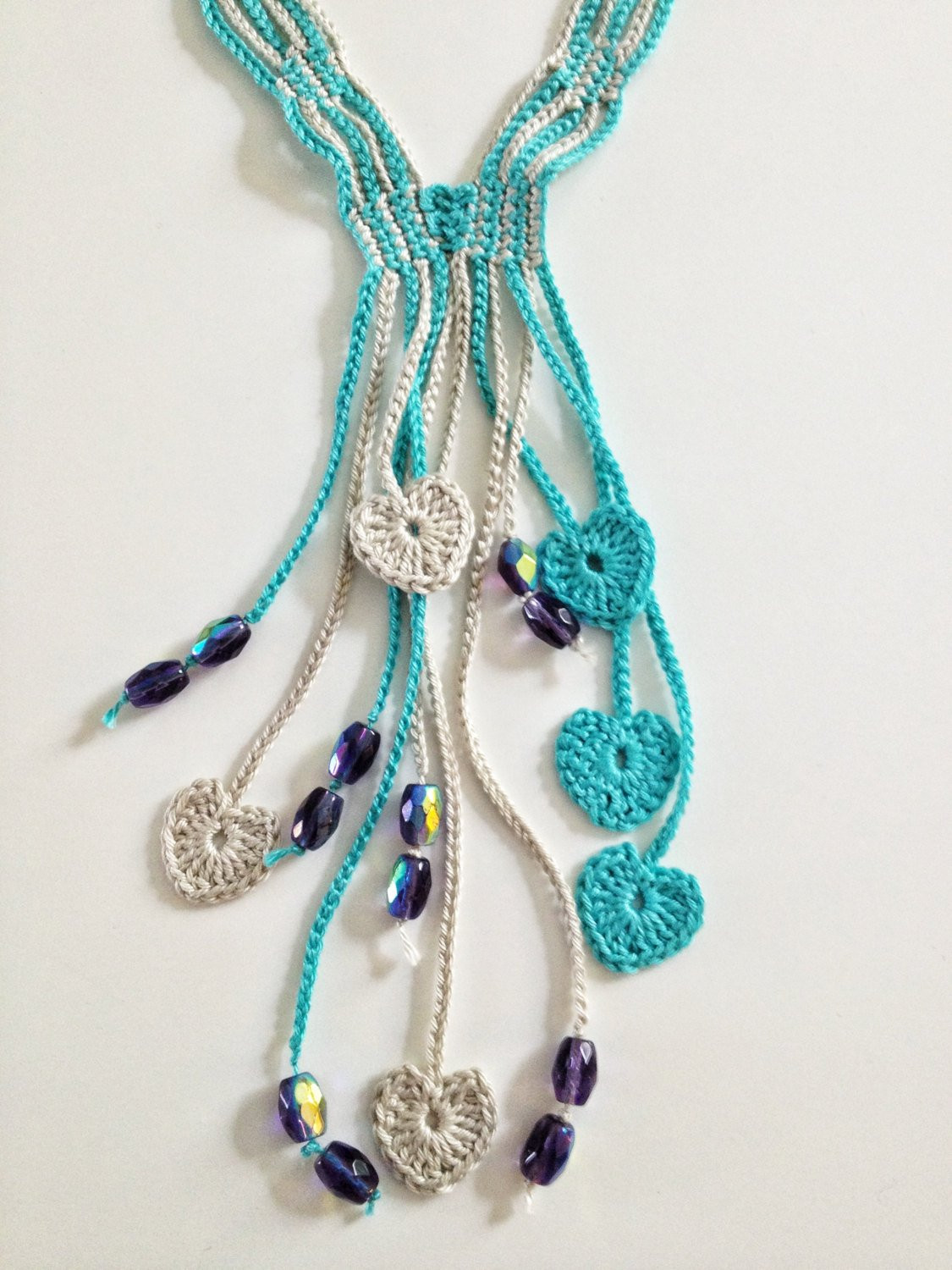 Blue hearts beaded crochet necklace