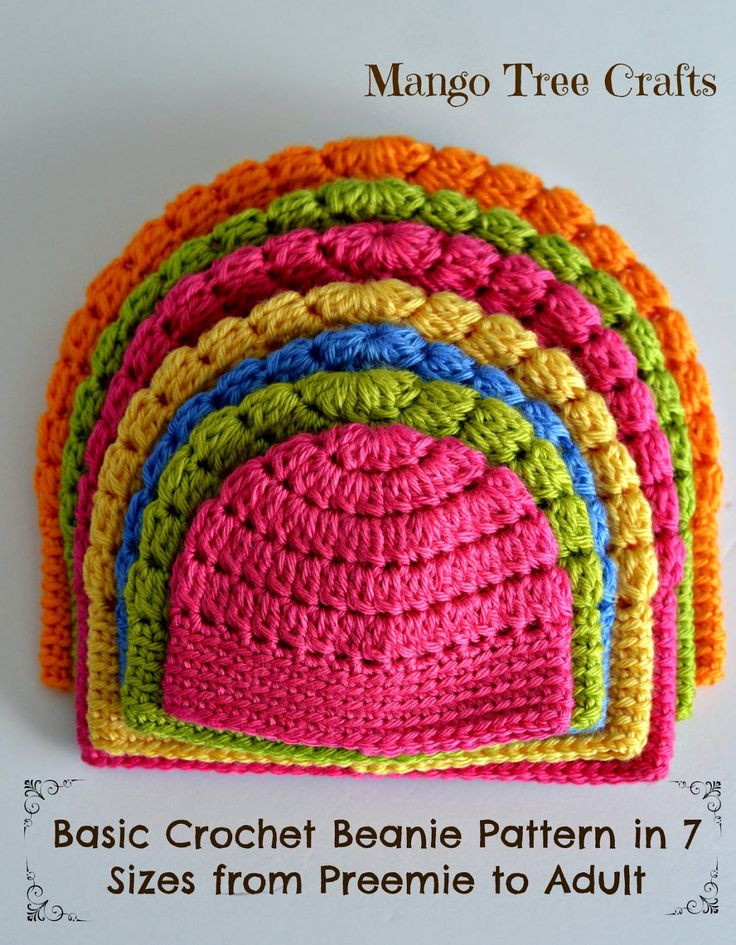 Crochet Beanie Hat New Beanie Pattern From Newborn to Adult Size 7 Sizes Of New 50 Images Crochet Beanie Hat