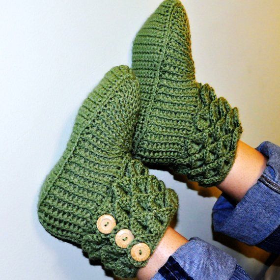 Crochet Crocodile Stitch Boots Booties Slippers