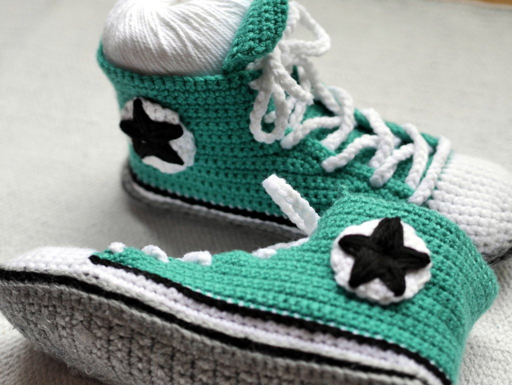 Crochet Booties for Adults Lovely Men S Crochet Adult Converse Inspired High tops Men by Of Delightful 42 Models Crochet Booties for Adults