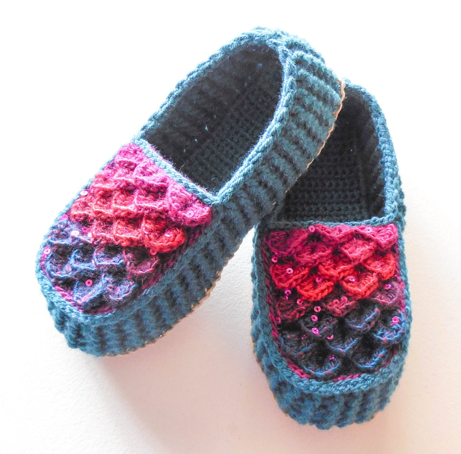 Crochet Booties for Adults Unique Crocodile Stitch Loafers Adult Sizes Turquoise Crochet Of Delightful 42 Models Crochet Booties for Adults