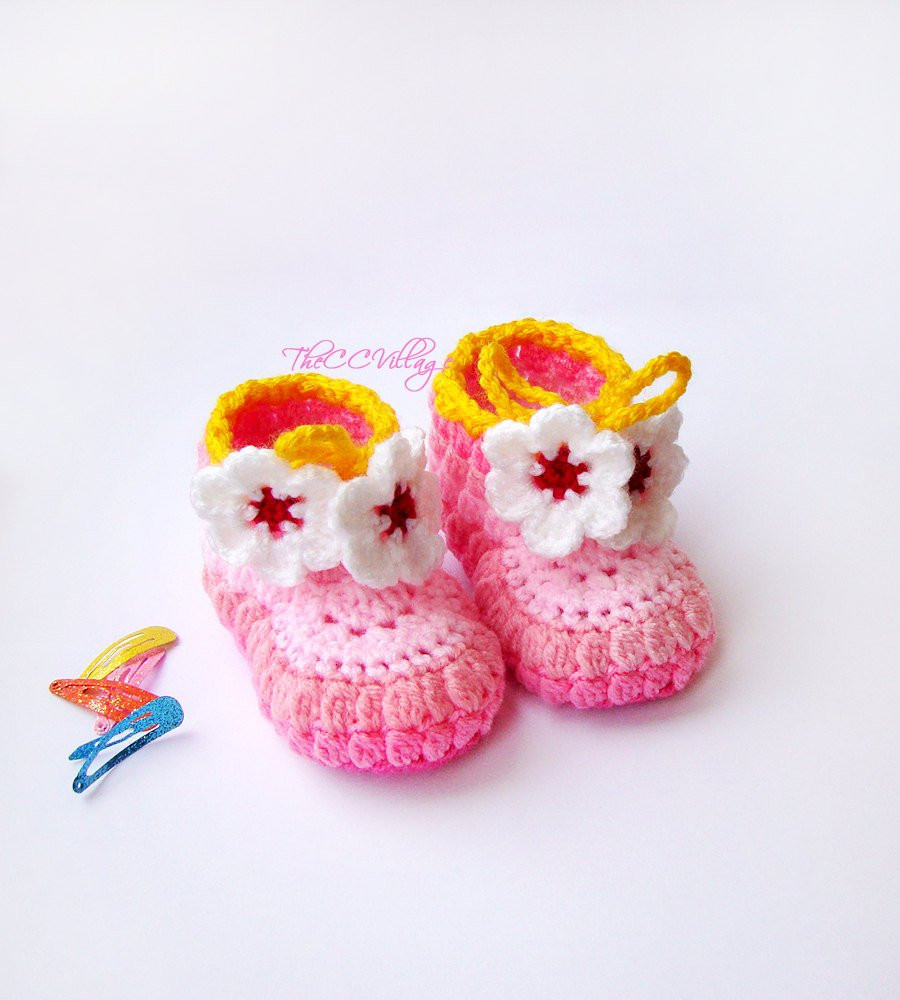 Crochet Booties for Baby Girl Awesome Pink Crochet Baby Booties Baby Girl Booties Shoes with White Of Attractive 44 Models Crochet Booties for Baby Girl
