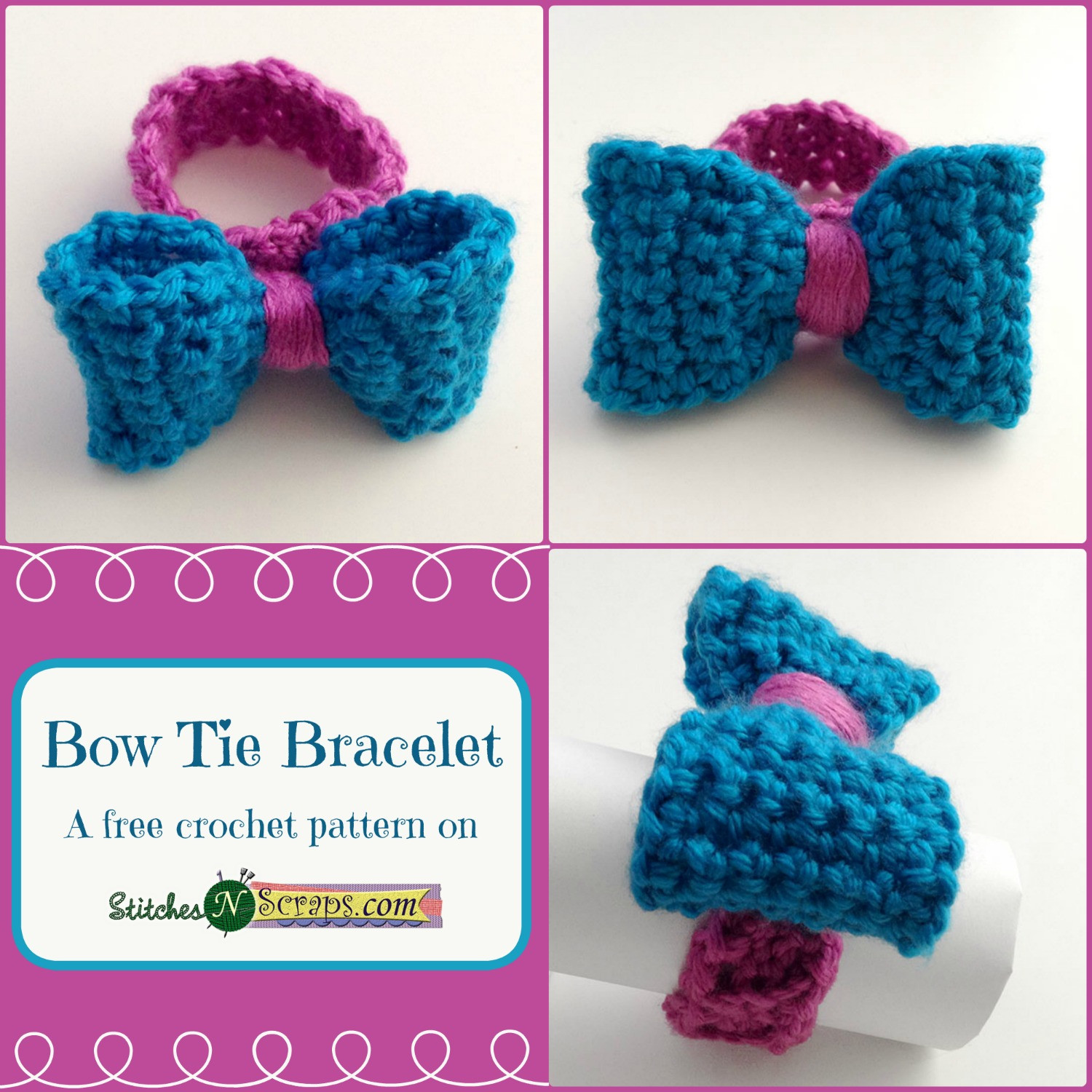 Crochet Bow Tie Awesome Free Pattern Bow Tie Bracelet Stitches N Scraps Of Brilliant 40 Pics Crochet Bow Tie