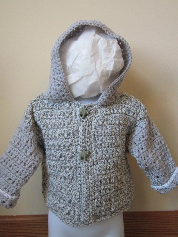 crocheted toddler boy or girl hooded sweater size 18 months