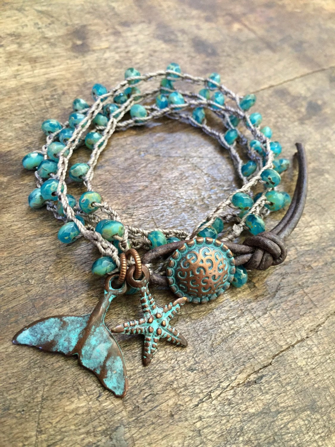 Turquoise Beaded Knotted Wrap Crochet Bracelet Rustic