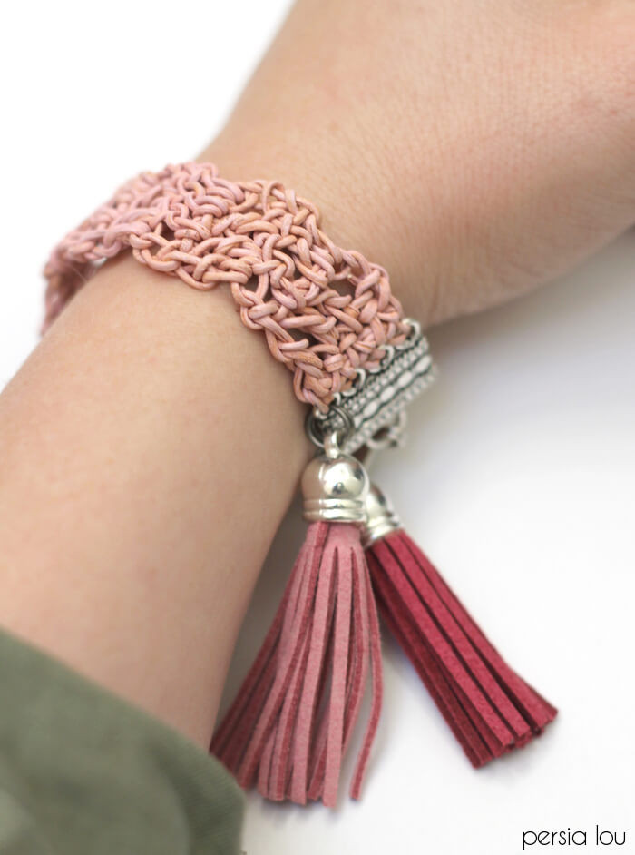 Crochet Bracelets Elegant Crochet Leather Bracelet Persia Lou Of Innovative 40 Images Crochet Bracelets