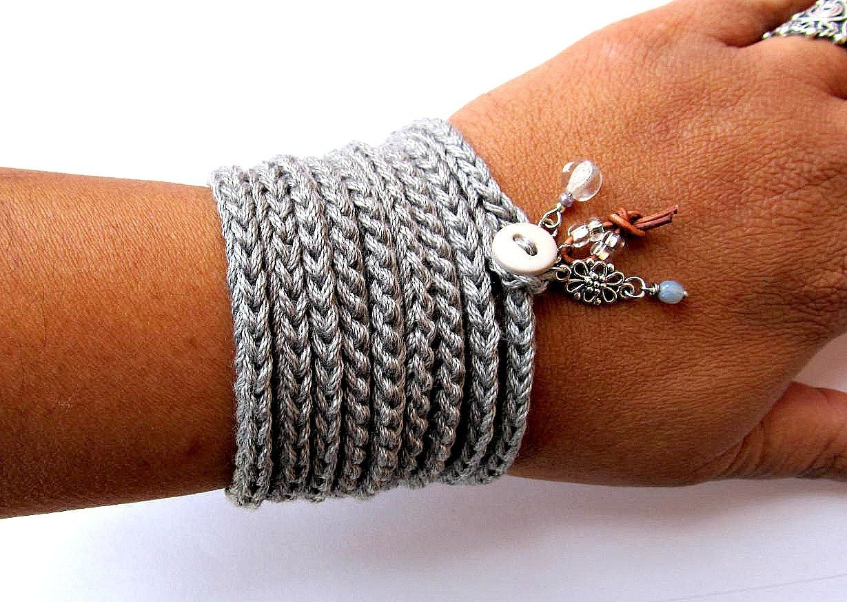 Crochet Bracelets Inspirational Crochet Bracelet with Charms Wrap Bracelet Silver Grey Cuff Of Innovative 40 Images Crochet Bracelets
