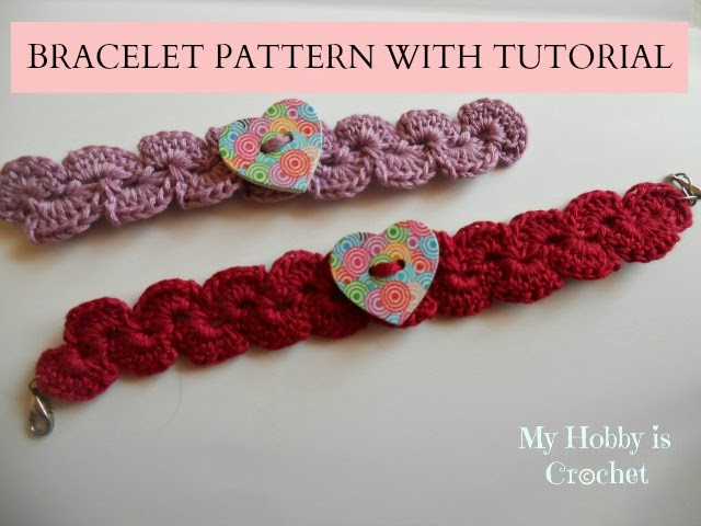 My Hobby Is Crochet Crochet Bracelet with Heart Button