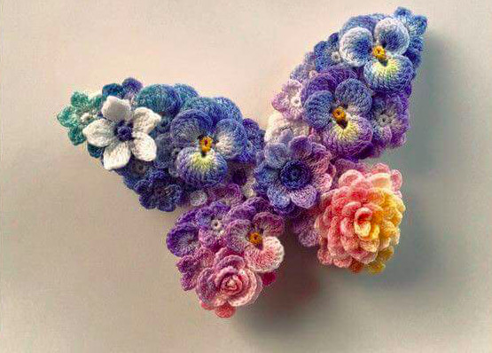 Brooch in butterfly shape LunarHeavenly Crochet Pattern