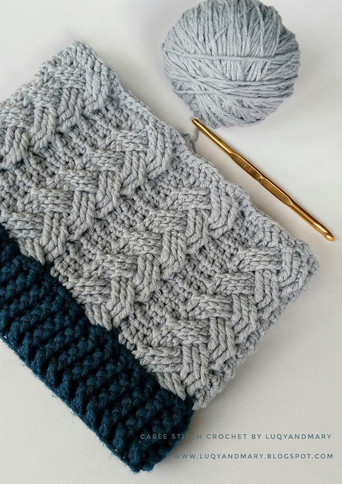 Luqy and Mary YarnWorks Crochet Cable Beanie Written Pattern