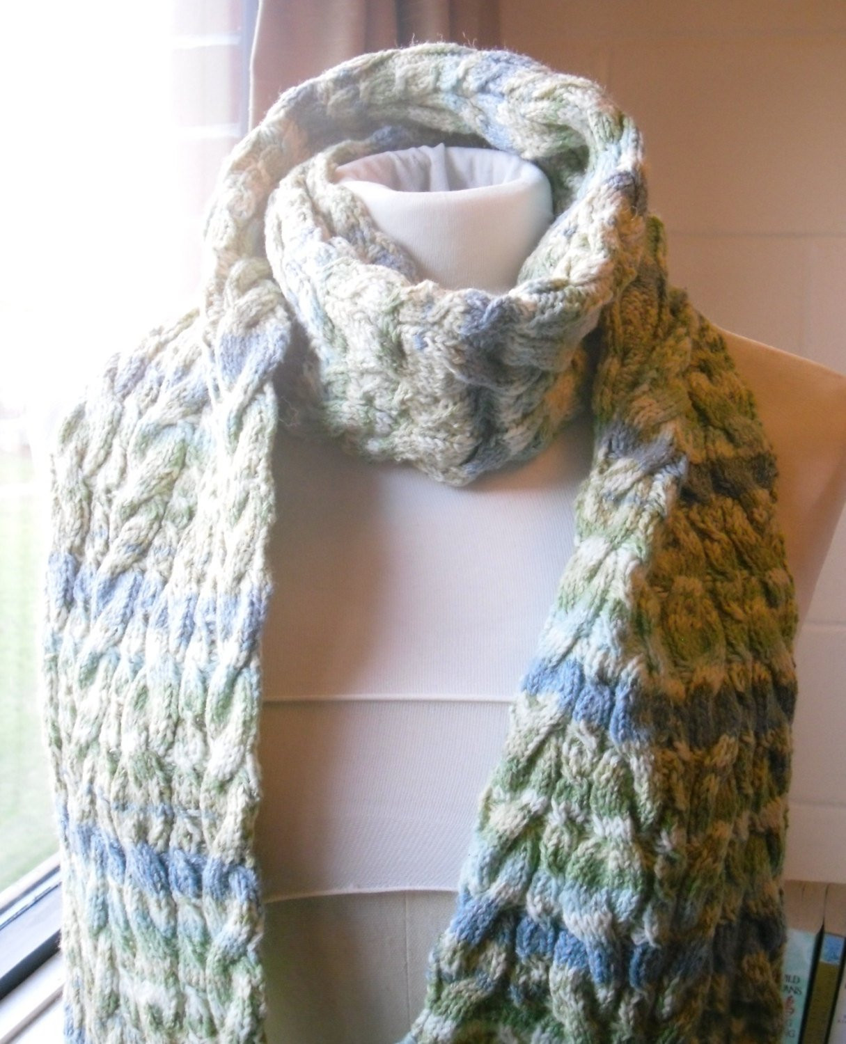 Crochet Cable Scarf New Cable Knit Scarf Green and Blue Knitted Scarf Of Incredible 40 Photos Crochet Cable Scarf