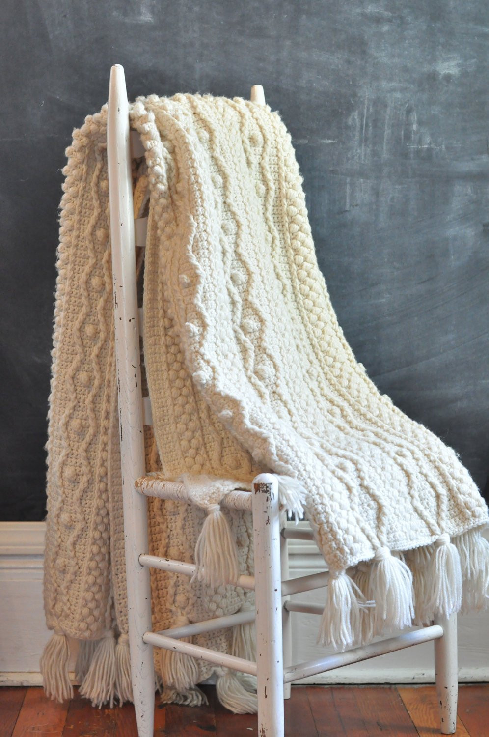 Crochet Cables Beautiful Vintage Aran Heavy F White Afghan Blanket Rug Crochet Cable Of Amazing 48 Pics Crochet Cables