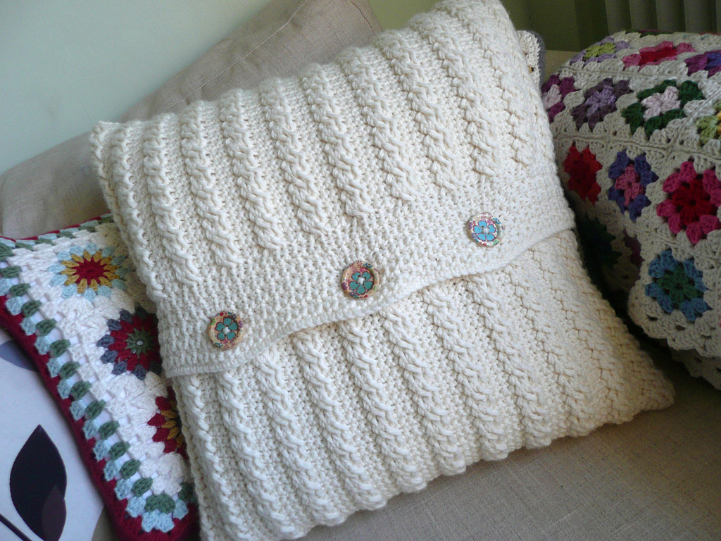 Crochet Cables Lovely Crocheted Cable Cushion Of Amazing 48 Pics Crochet Cables