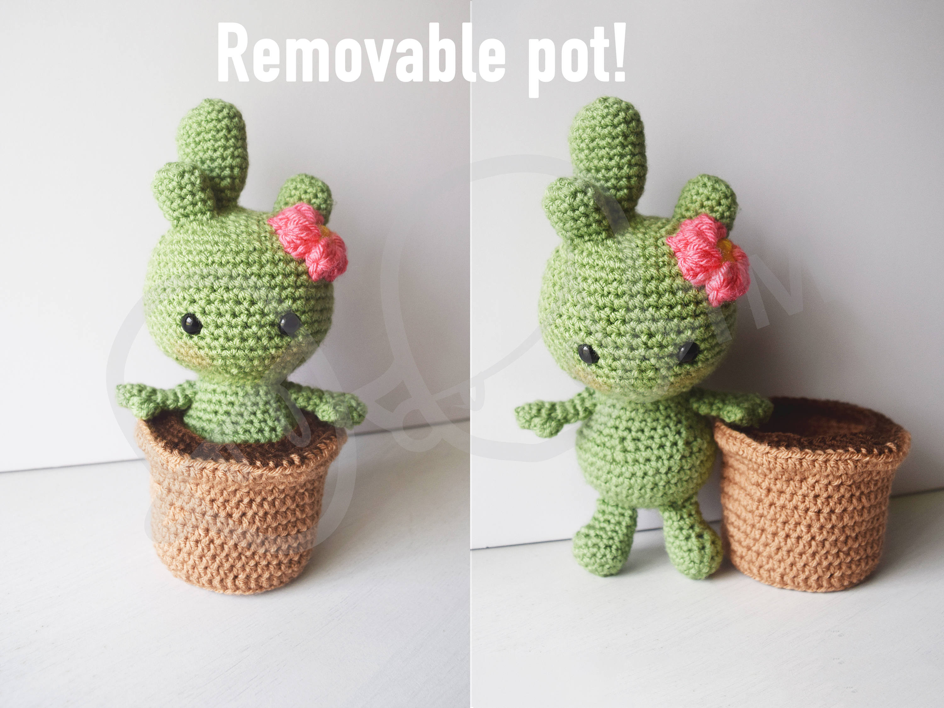 Cactalina cactus crochet PATTERN removable pot Groot s