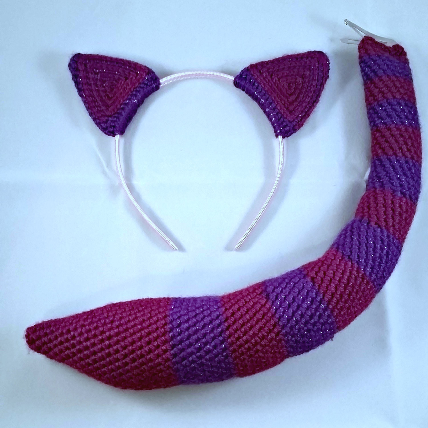 Cat Ears and Tail Whimsical Crochet Animal Costume