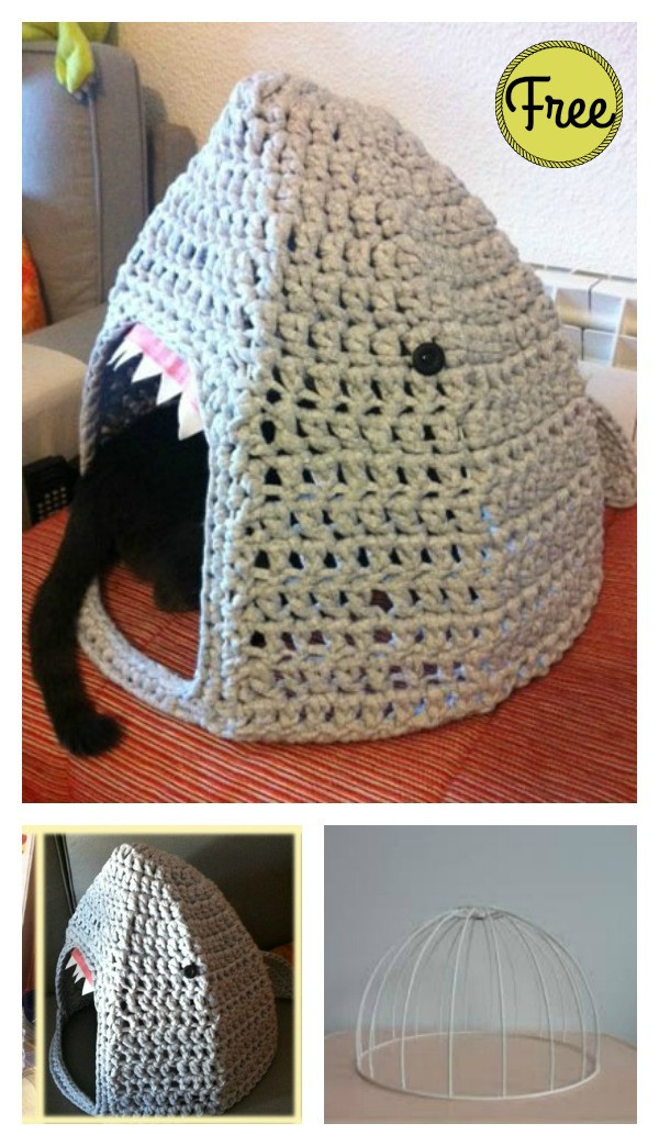 Crochet Cat House Awesome Shark Cat House Free Crochet Pattern Of Crochet Cat House