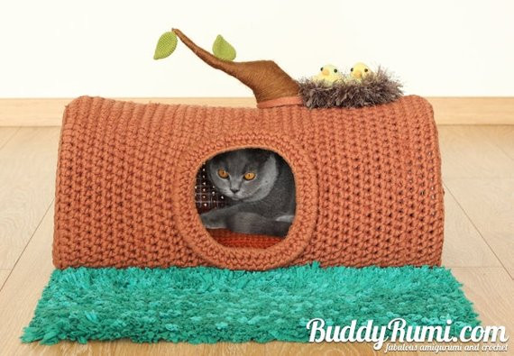 PATTERN Pet crochet bed cat cave t shirt yarn A House in the