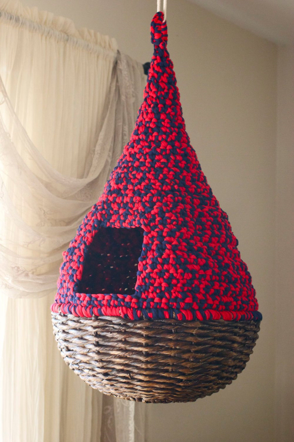 Crochet Cat House Inspirational Hanging Cat Nest Bright Red and Navy Blue Round Teardrop Of Crochet Cat House