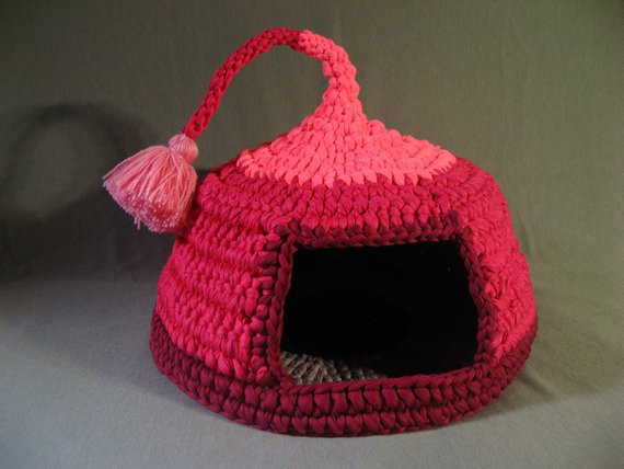 Crochet Cat House New Crochet Cat Bed Cat Cave Pet House Tshirt Yarn Pink by Of Crochet Cat House