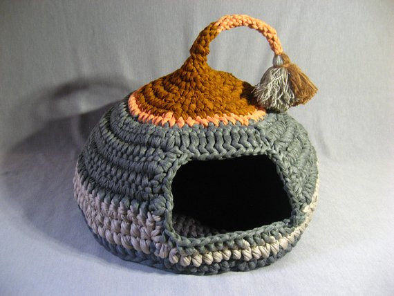 Crochet Cat House New Crocheted Cat Cave Pet House Pet Bed Gray and Brown with Of Crochet Cat House