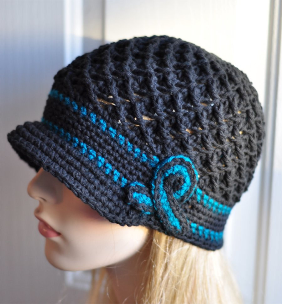 Crochet Chemo Caps Luxury Ovarian Cancer Awareness Crochet Hat Teal and Black Chemo Of Contemporary 46 Images Crochet Chemo Caps