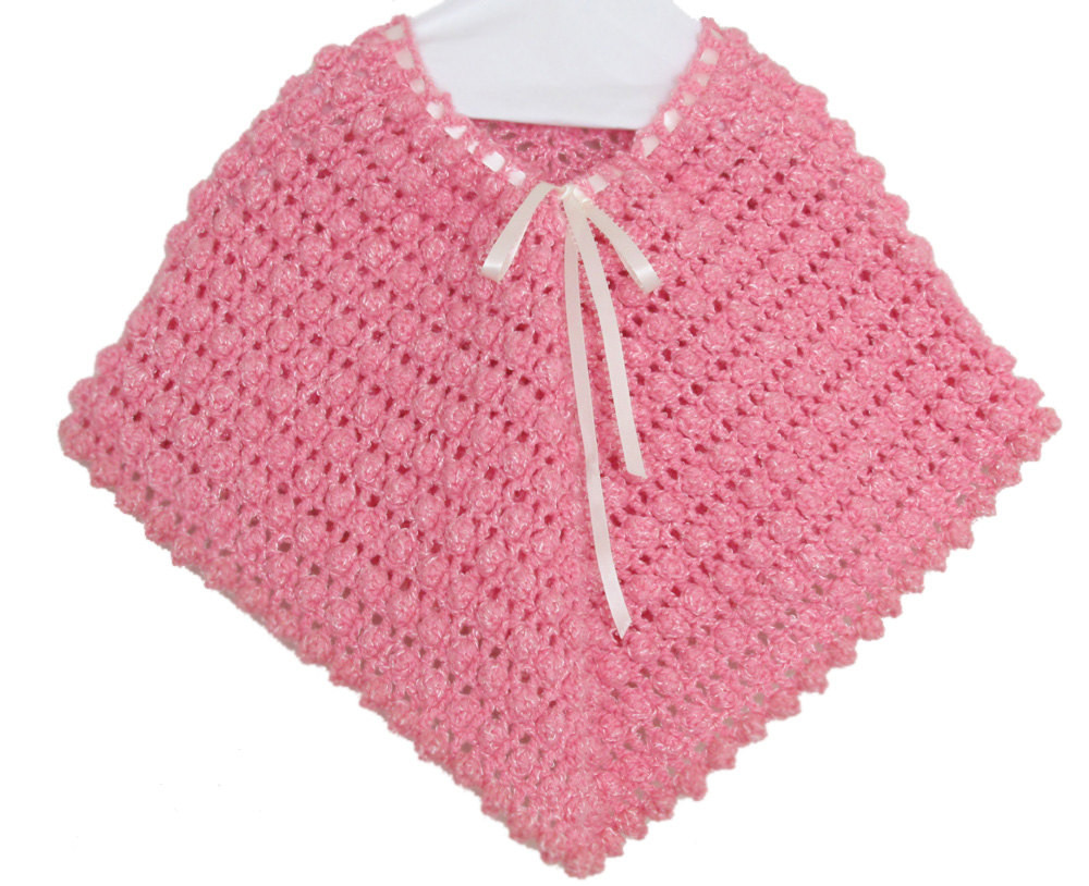 Crochet Child Poncho Awesome Pink Crochet Poncho for Baby Girl Rose Pink Poncho Of Crochet Child Poncho Fresh Easy Poncho to Crochet with Puff Stitch Rows