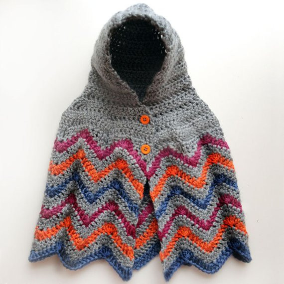Crochet Child Poncho Beautiful Hooded Chevron Poncho 4 Sizes Pdf Crochet Pattern Of Crochet Child Poncho Fresh Easy Poncho to Crochet with Puff Stitch Rows