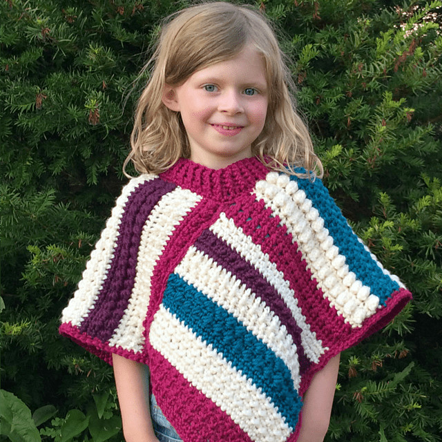 Crochet Child Poncho Inspirational Free Poncho Patterns for Girls • Free Crochet Tutorials Of Crochet Child Poncho Fresh Easy Poncho to Crochet with Puff Stitch Rows