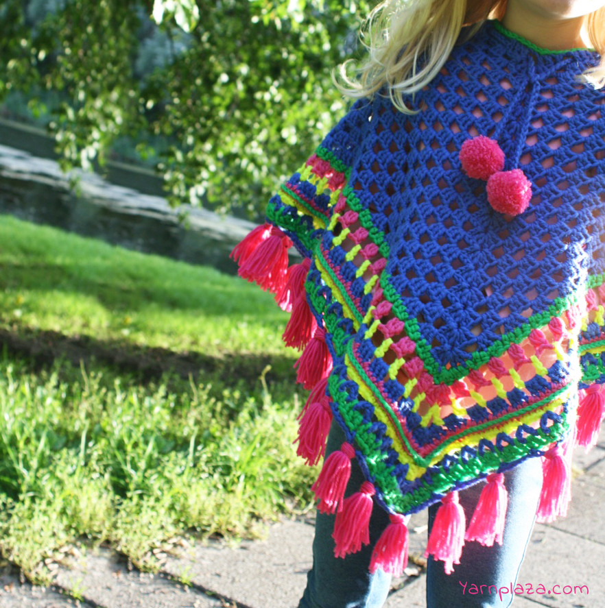 Crochet Child Poncho Luxury Cheerful Crochet Poncho for Kids Free Pattern Of Crochet Child Poncho Fresh Easy Poncho to Crochet with Puff Stitch Rows