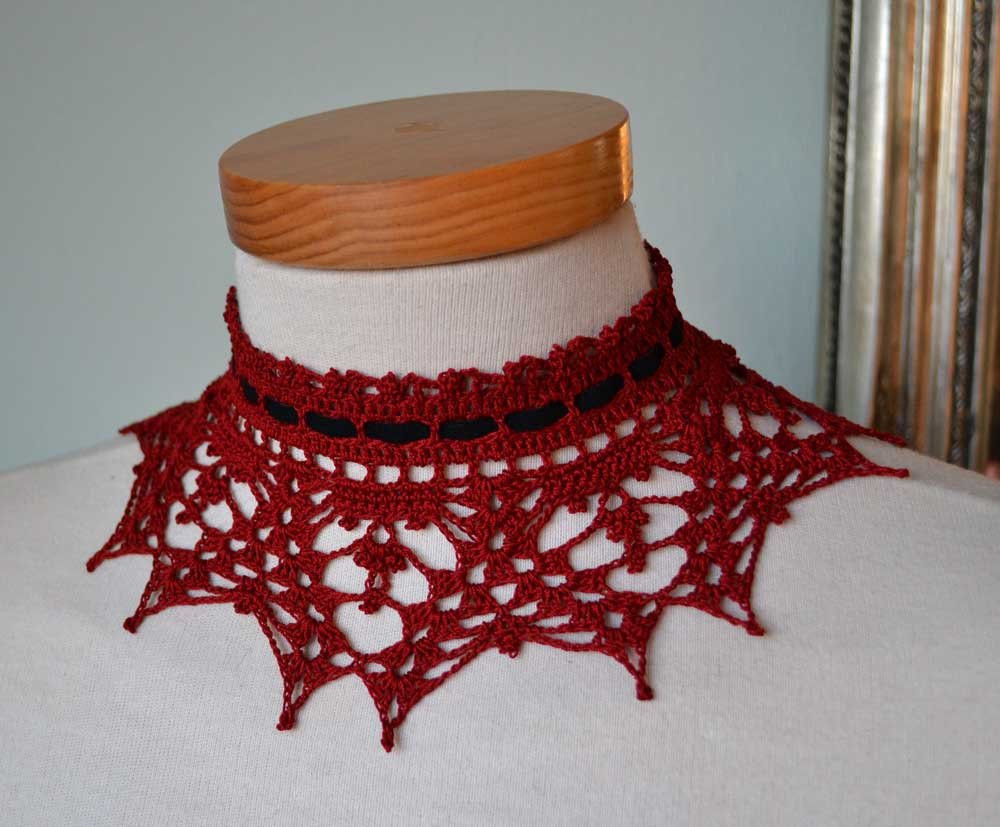 Lace crochet choker red burgundy oxblood cotton black suede