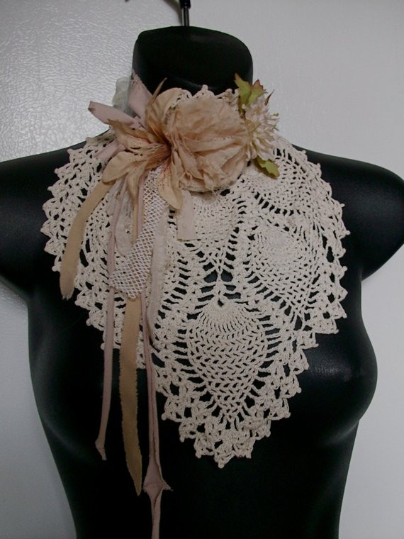 Crochet Chokers Inspirational Crochet Collar Choker Beige Shabby Rose Vintage Flowers by Of Awesome 49 Photos Crochet Chokers