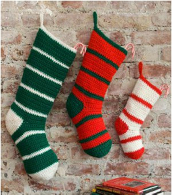 Crochet Christmas Stocking Pattern Unique Simple Striped Santa Stockings Of Top 46 Models Crochet Christmas Stocking Pattern