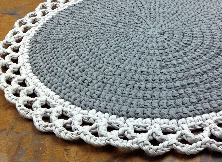 Crochet Rug Round Rug Cotton Rug Knitted Rug Gray by