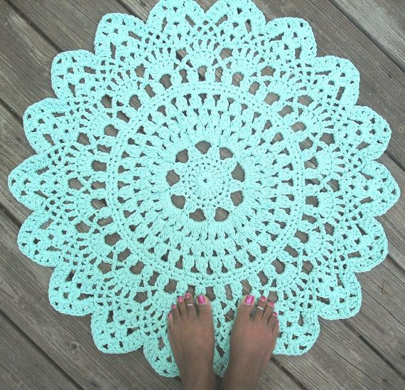 """Crochet Circle Rug Luxury Robins Egg Blue Cotton Crochet Doily Rug In 30"""" Circle Of Amazing 43 Images Crochet Circle Rug"""
