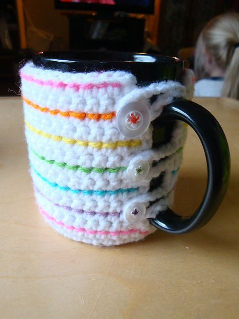 Crochet Coffee Cup Cozy Awesome 17 Best Images About Mugs Crochet On Pinterest Of Crochet Coffee Cup Cozy Luxury Pdf Crochet Pattern Coffee Mug Cozy with button by