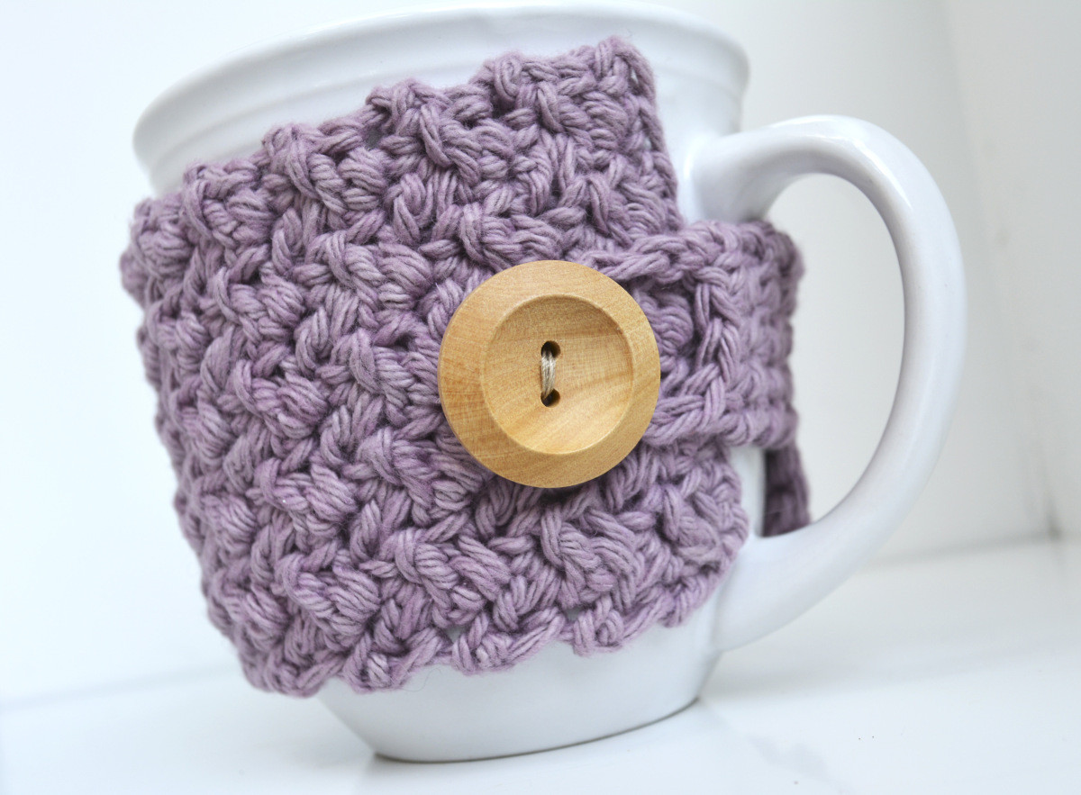 Crochet Coffee Cup Cozy Awesome Textured Coffee Mug Cozy Crochet Pattern Of Crochet Coffee Cup Cozy Luxury Pdf Crochet Pattern Coffee Mug Cozy with button by