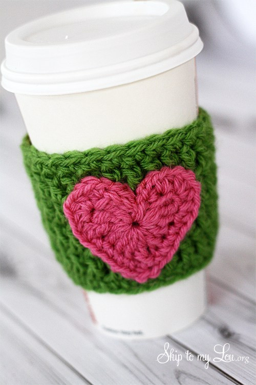 Crochet Coffee Cup Cozy Beautiful Happy Holidays Handmade Gift Idea Crochet Heart Coffee Of Crochet Coffee Cup Cozy Elegant Wooftastic Puppy Crochet Coffee Cozy