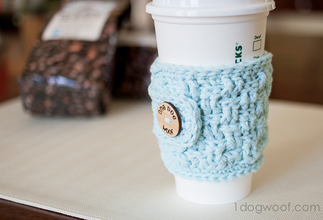 Crochet Coffee Cup Cozy Elegant Basketweave Cup Cozy Crochet Pattern with Of Crochet Coffee Cup Cozy Elegant Wooftastic Puppy Crochet Coffee Cozy