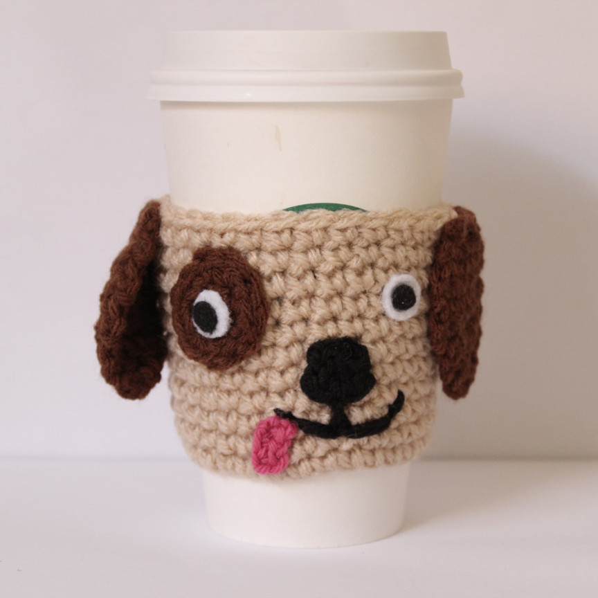 Crochet Coffee Cup Cozy Elegant Wooftastic Puppy Crochet Coffee Cozy Of Crochet Coffee Cup Cozy Luxury Happy Holidays Handmade Gift Idea Crochet Heart Coffee