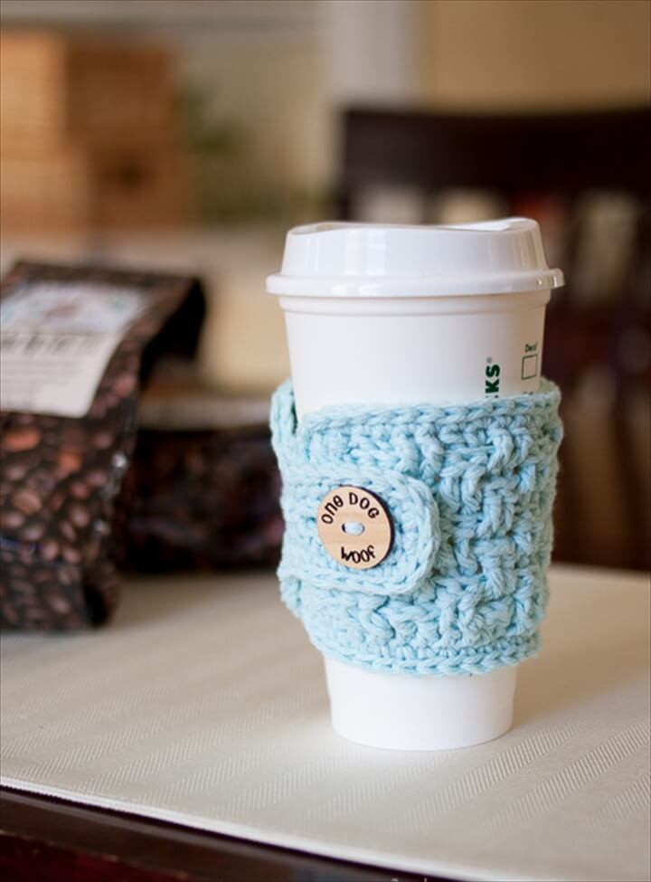 Crochet Coffee Cup Cozy Inspirational 20 Cool Crochet Coffee Cozy Ideas & Tutorials Of Crochet Coffee Cup Cozy Luxury Pdf Crochet Pattern Coffee Mug Cozy with button by