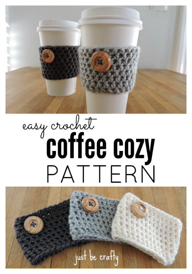 Crochet Coffee Cup Cozy Inspirational 35 Easy Crochet Patterns Of Crochet Coffee Cup Cozy Luxury Pdf Crochet Pattern Coffee Mug Cozy with button by