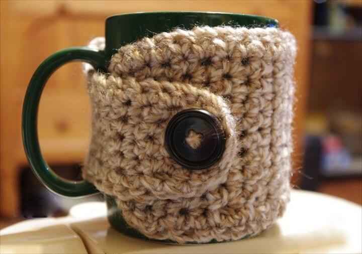 Crochet Coffee Cup Cozy Luxury 31 Diy Easy to Make Crochet Mug Warmer Ideas Of Crochet Coffee Cup Cozy Luxury Pdf Crochet Pattern Coffee Mug Cozy with button by
