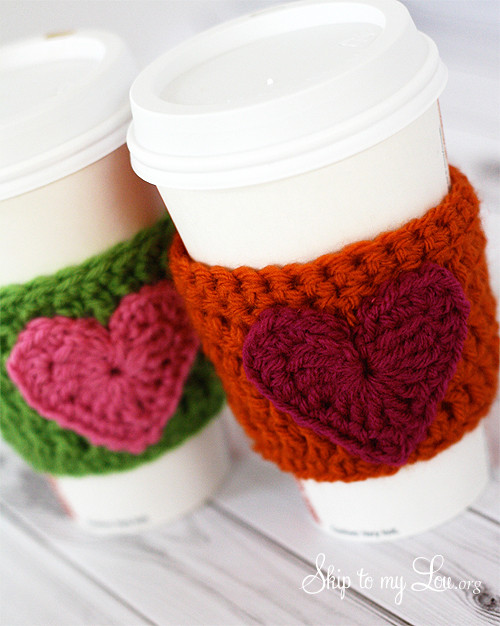 HAPPY Holidays Handmade Gift Idea Crochet Heart Coffee