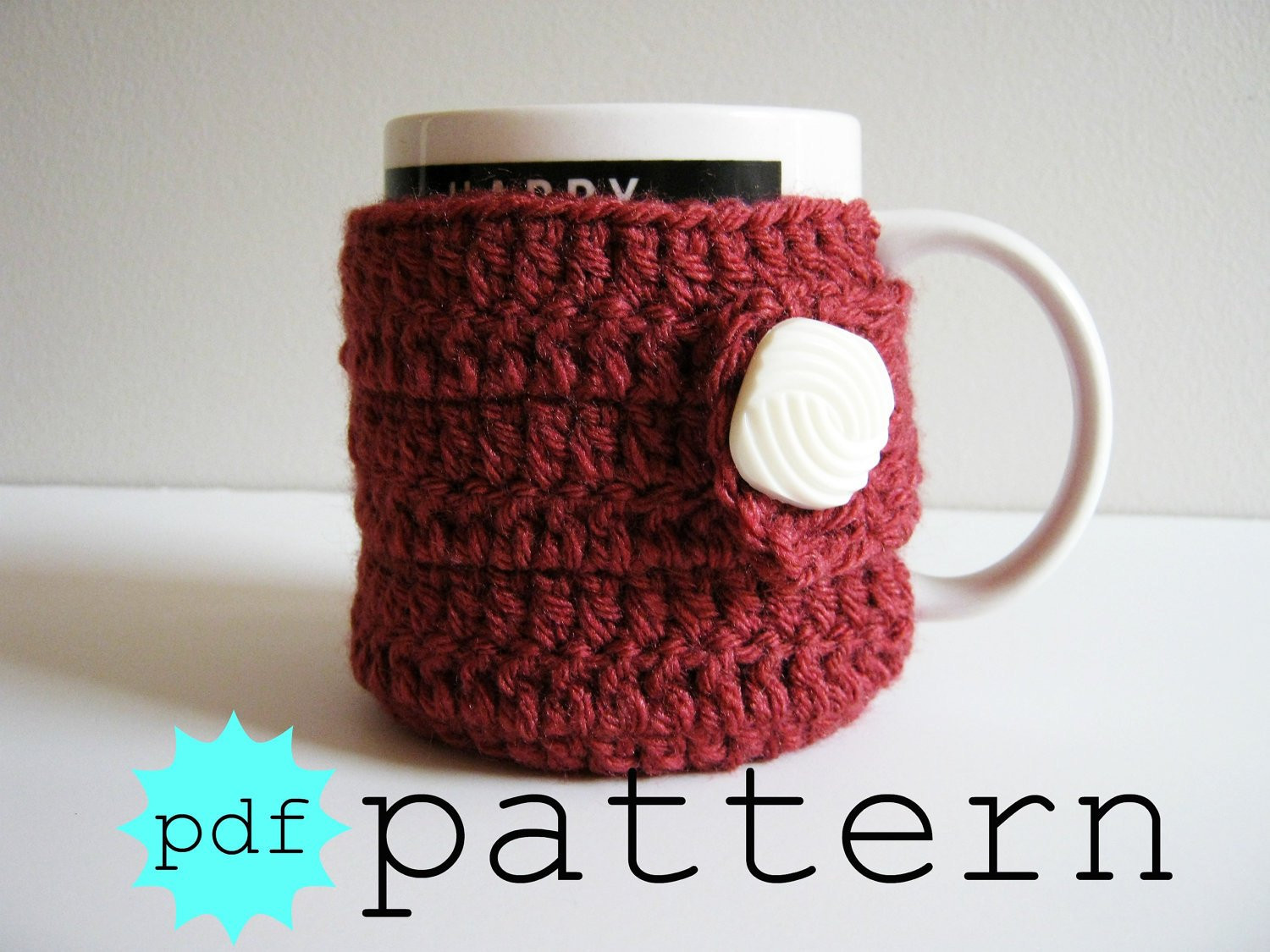 PDF Crochet Pattern Coffee Mug Cozy with Button by