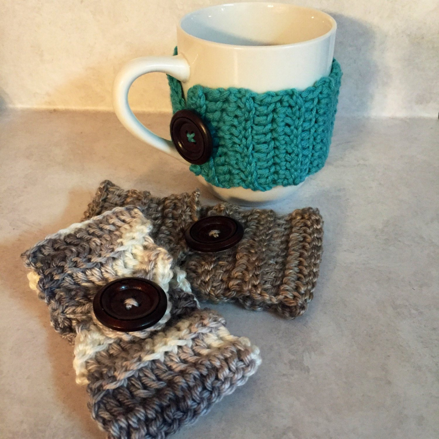 crochet tea cozy coffee cup sleeve