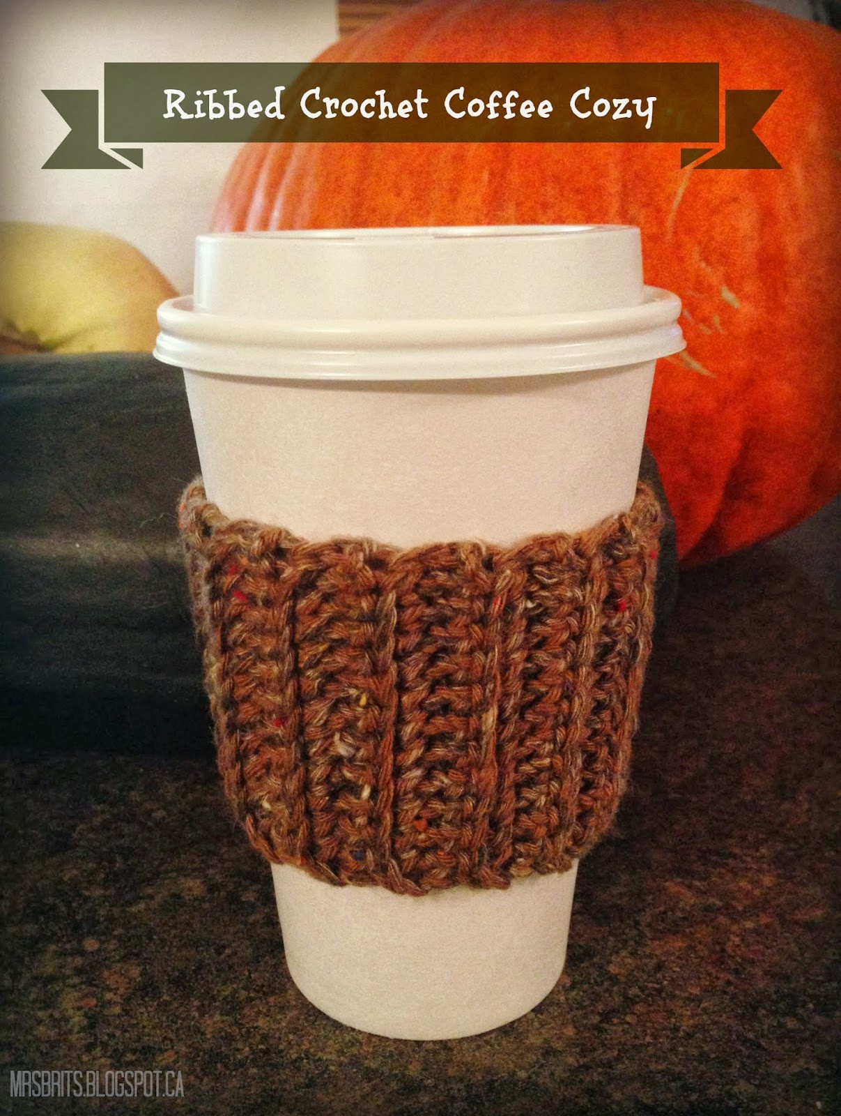 MrsBrits Ribbed Coffee Cozy Crochet Pattern