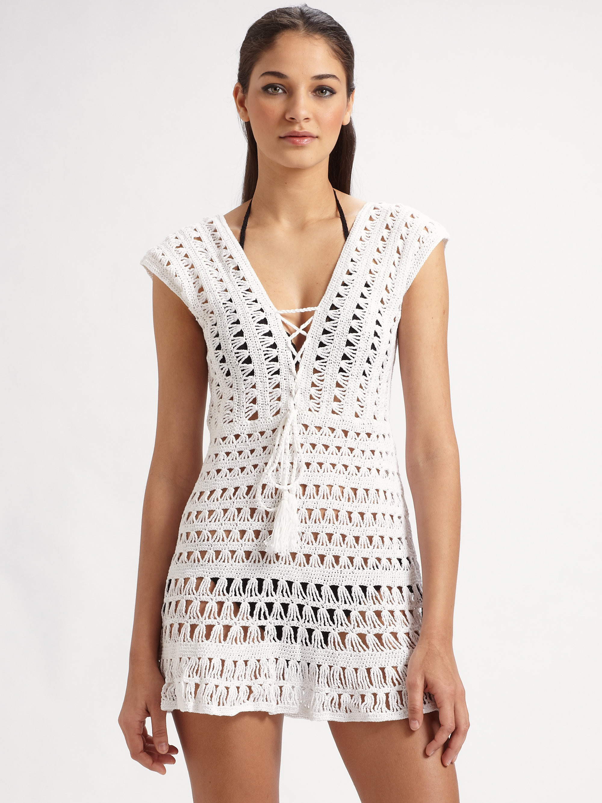 Crochet Cover Up Beautiful Lyst Anna Kosturova Marissa Crocheted Coverup In White Of Adorable 40 Pictures Crochet Cover Up