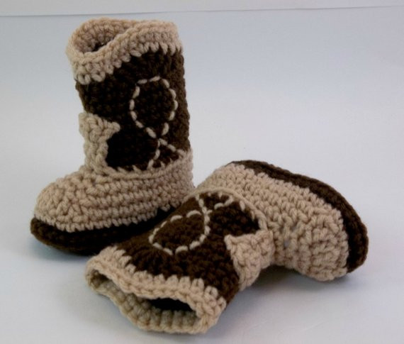 Crochet Cowboy Boots Beautiful Baby Booties Two tone Brown Crochet Cowboy Boots Western Of Marvelous 49 Pictures Crochet Cowboy Boots
