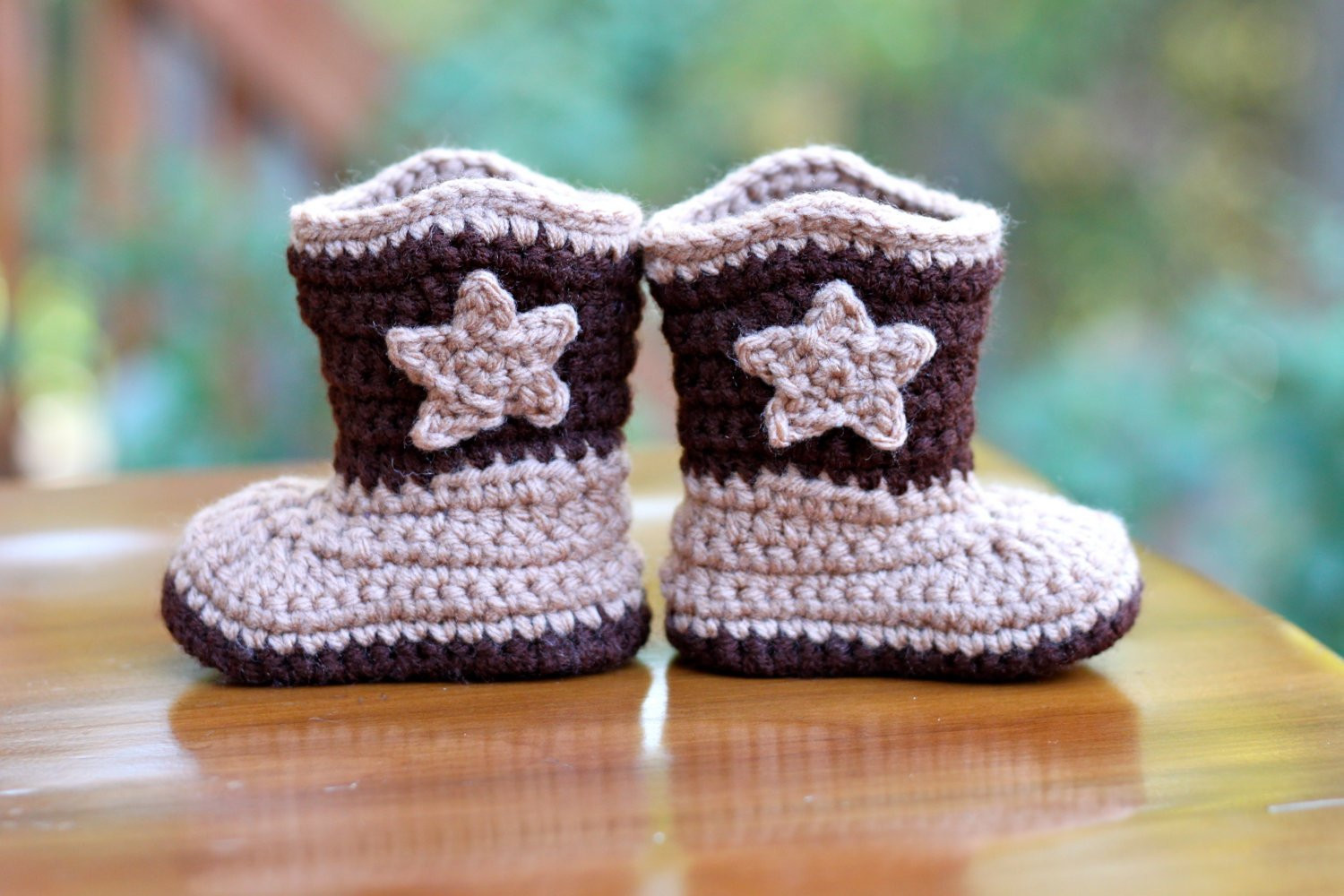 Crochet Baby Cowboy Boots Brown Baby Booties Size