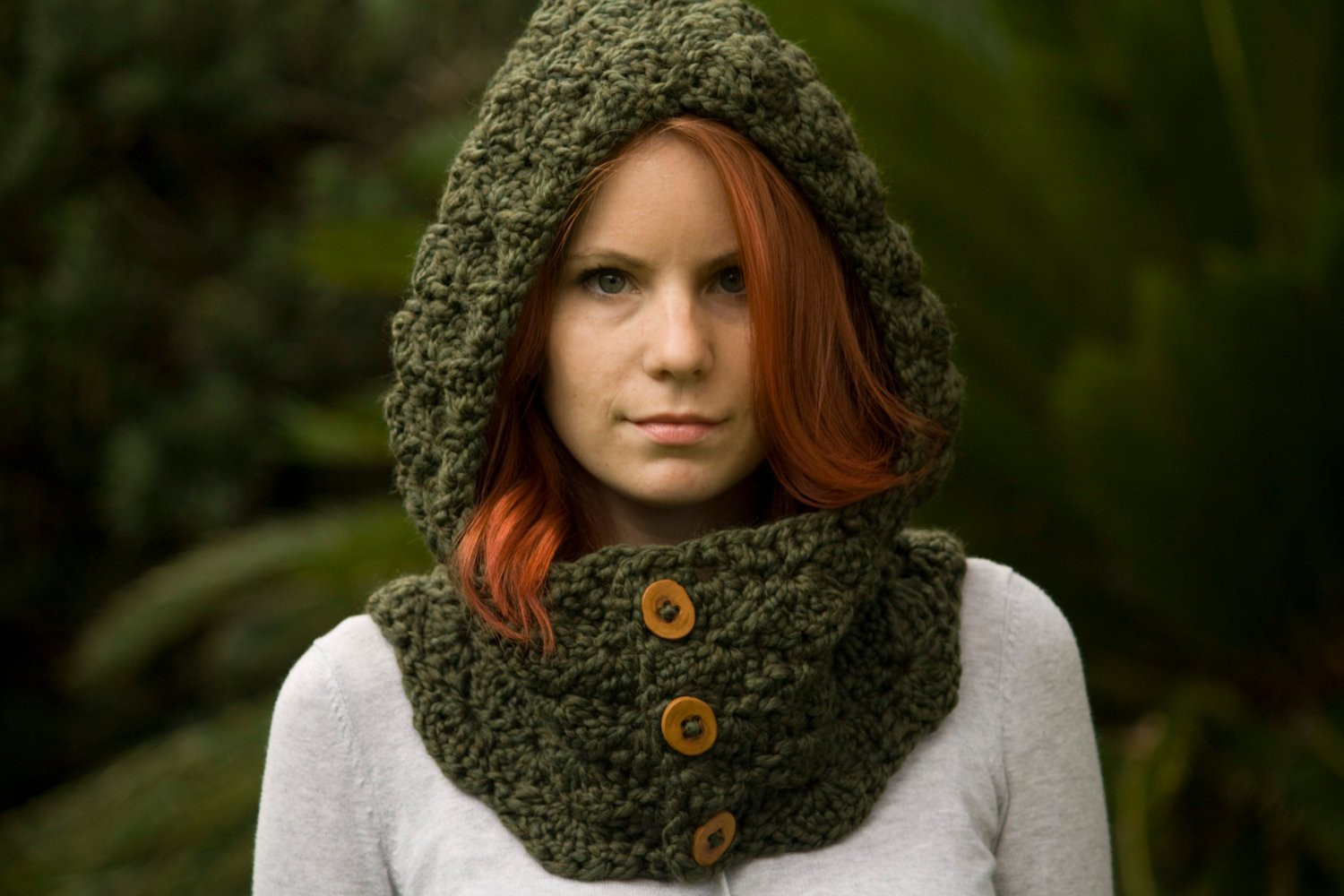 Crochet Cowl Awesome Hooded Cowl Wood button Crochet Hooded Scarf Olive Green Of Adorable 50 Ideas Crochet Cowl